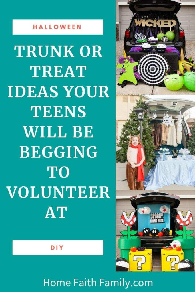 These trunk or treat ideas are perfect for teens. They can help with their favorite Fortnite inspired trunk, Harry Potter, Disney, and more. With over 100 ideas, they'll find their favorite Halloween idea. #halloween #trunkortreat