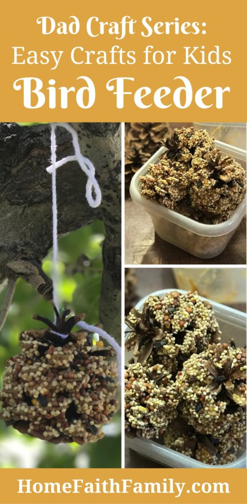 You are going to LOVE this easy crafts for kids bird feeder tutorial. This is the ultimate kid friendly craft. (Brought to you by the Dad Craft Series).