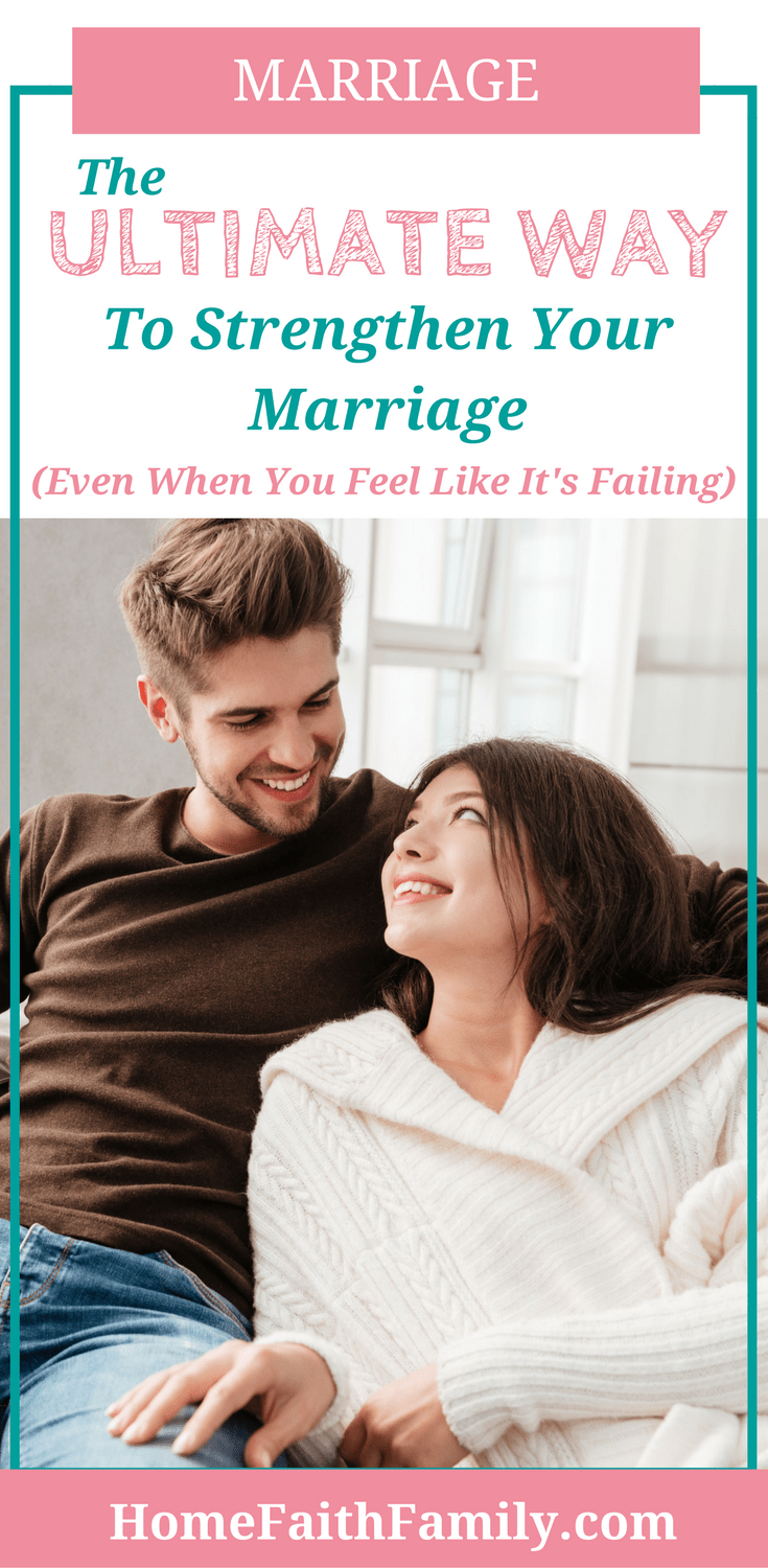 There's lots of marriage advice about how to strengthen your marriage. This post explains the ultimate way to strengthen your marriage after everything else you've tried has failed. From one Christian husband and wife to another, you can strengthen your marriage, even when you feel like it's failing. Click to read. | Ways to strengthen your marriage