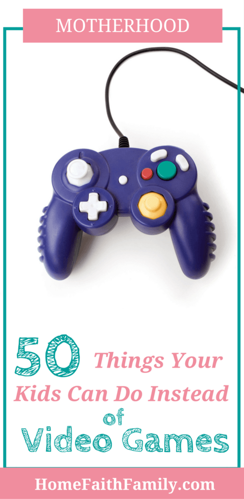 Are your kids spending too much time playing video games? Here's a list of 101 alternative activities to video games that any age will enjoy. Click to read this list. #videogames #toomuchscreentime