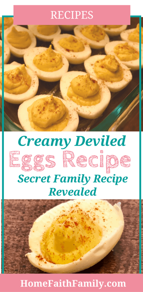 This classic deviled eggs recipe is easy to make and creamy to the taste. After making these deviled eggs (a secret family recipe revealed) there will be no leftovers on your family table. Click to grab your free recipe. #recipe #deviledeggs #cooking