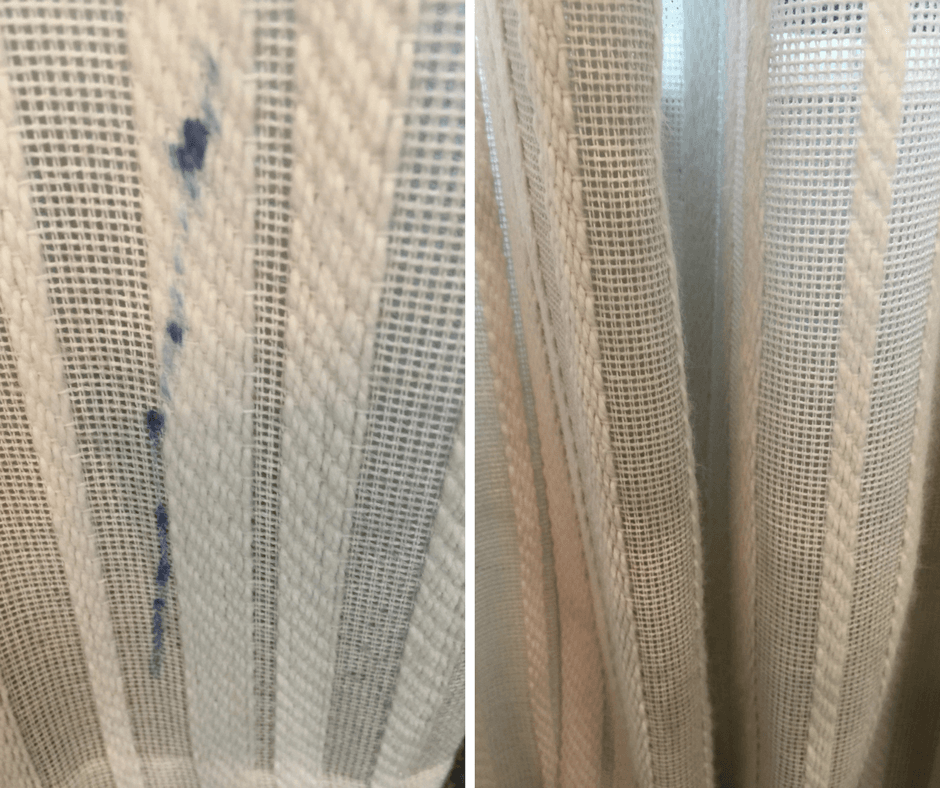 This best stain remover is only 3 ingredients and removes even the toughest stains in fabrics. Learn which common household items will help you with your DIY cleaning. Click to read. #diy #cleaningtips #stains #curtains