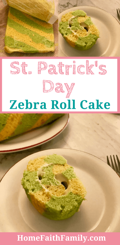 st patricks day zebra roll cake