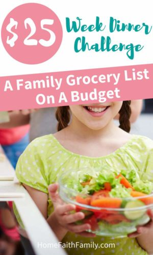 You can feed your family healthy meals on a budget. I'll show you my family grocery budget and show how I fed my family of 5 for only $25 in one week. | Family grocery list on a budget | Click to read. #groceryshopping #feedingfamily