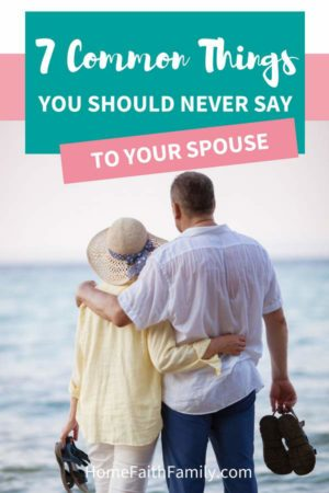 Would you like some smart marriage advice? There are 7 common things you should never say to your spouse if you want to have a strong relationship. Every couple has their struggles, but saying these phrases is a recipe for disaster. Keep reading to find out if you're saying these common phrases (and how to stop!) #married #marriage #marriagegoals #couples #couplegoals | marriage rut, loveless marriage, marriage difficulties, reconcile marriage, fights in marriage
