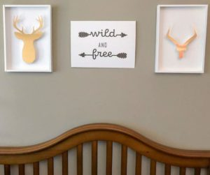 "This West Elm knock off home décor is perfect for your next bedroom decorating idea. Inspired by the theme, ""wild and free"" for a boy's bedroom, you're going to love having this diy bedroom décor in your home. Grab the free svg file for the Cricut using the knife blade, or learn how you can make this by hand. 