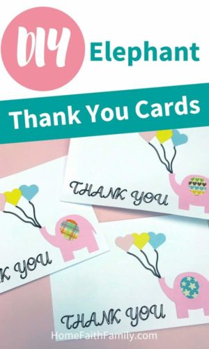 These elephant thank you cards are so adorable! For a quick, easy, and free Cricut project, you're going to love this homemade tutorial that will make anyone smile. Keep reading for your free svg file and learn how to make these easy DIY thank you cards in minutes. #cricut #cricutmade #diy #thankyou #svg