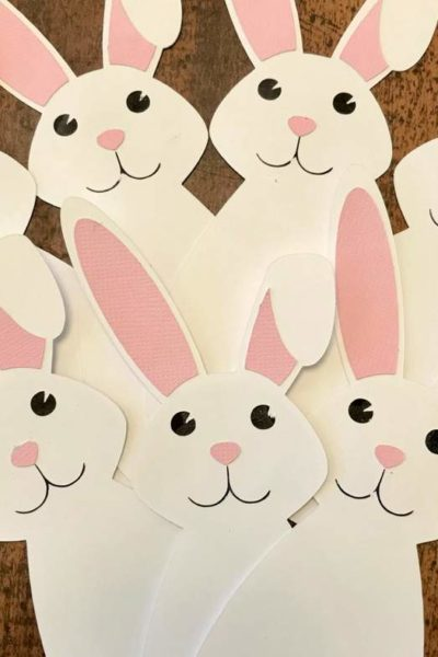 This easy Easter bunny craft for kids is adorable! This free project is perfect for beginners using their Cricut. And don't worry if you don't have a Cricut, the printable PDFs are available as well. Grab your freebie and make this adorable craft, today! #cricut #diy #easter #craftsforkids #eastercraft #bunnies