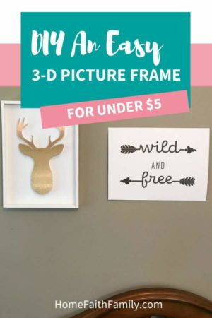 Looking for elegant décor without breaking the bank? You're going to love this diy picture frame for your home. This 3-D frame will give your home décor just what you're looking for (and the best part is the frame costs less than $5 to diy). You can make this frame by hand or grab the free svg file for your Cricut Maker right now. | DYI frame ideas | frame projects | simplistic decor | home diy | svgs cricut