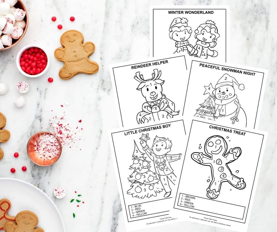 Christmas color by number free coloring sheets
